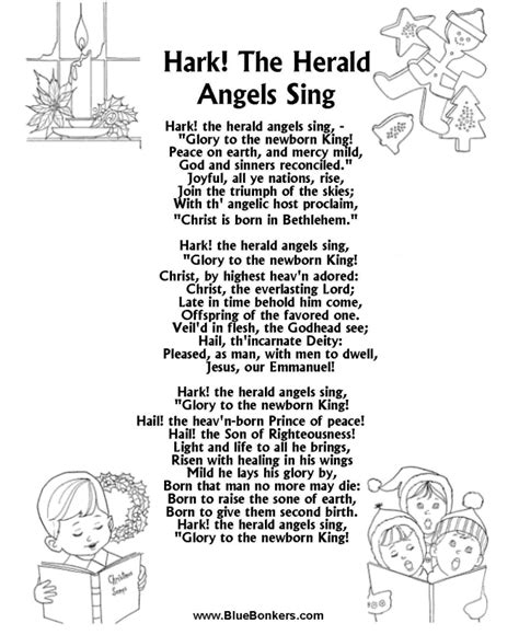 Printable Lyrics Hark The Herald Angels Sing | bluebonkers hark the herald angles sing free printable