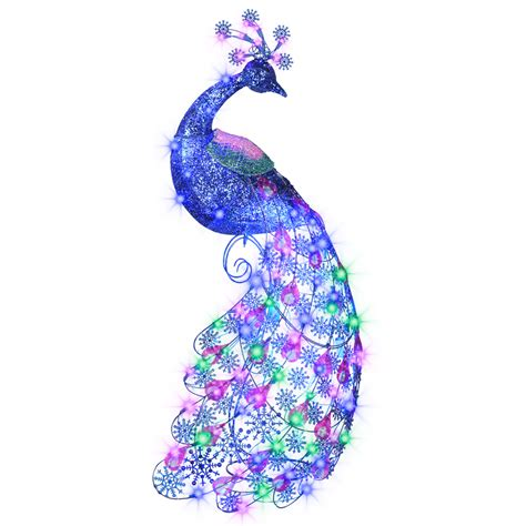 new sparkle blue light peacock christmas display decor