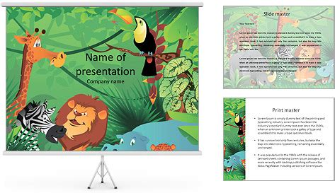 powerpoint templates jungle free cartoon characters in the jungle powerpoint template