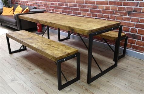 industrial steel reclaimed wood dining table benches