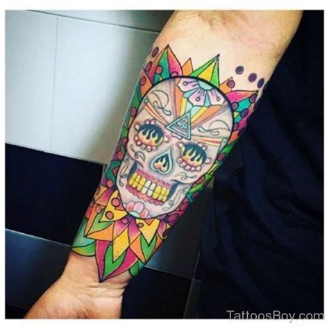 colored tattoos colored skull on wrist designs