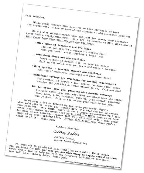 insurance marketing letter template truth
