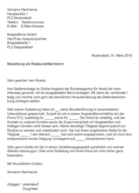 Anschreiben Bewerbung Muster Restaurantfachfrau Muster Gt Bewerbung Als Restaurantfachfrau Restaurantfachmann