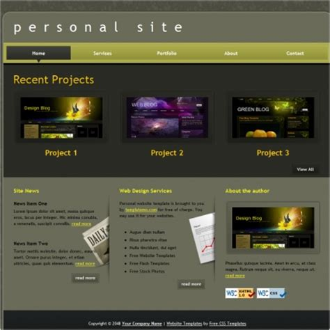 Personal Free Website Templates In Css Html Js Format For Free Download 214 68kb Personal Website Template Html Css