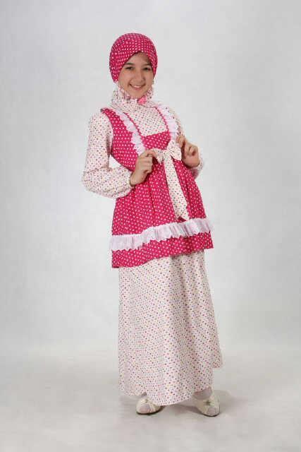 Agoest Kid Black aini 130203 pink baju muslim gamis modern