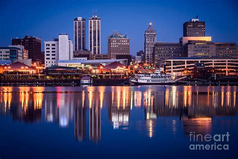 Riverfront Home Plans by Peoria Illinois Skyline At Night Photograph By Paul Velgos