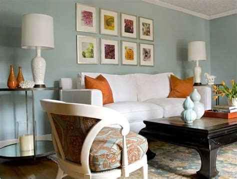 Orange Blue Living Room by Decorating With Orange Centsational