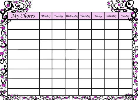 template of chore chart free printable behavior charts reward charts and visual cues for children with autism chore