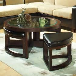 Glass Coffee Table With Ottomans Trent Home Redell Glass Top Cocktail Table With 4 Ottomans In Redwood 3219pu 01