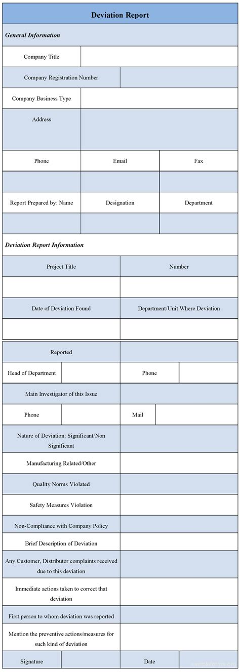 deviation report template deviation report form sle deviation report form sle forms