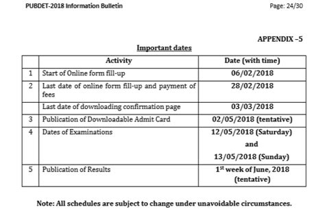 Mba Entrance Dates 2018 19 by Important Dates For Pubdet 2018 Admissions
