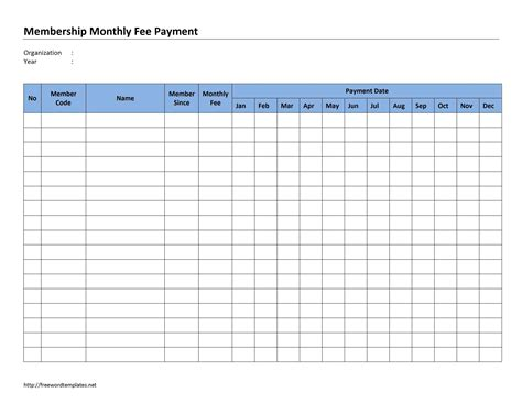 monthly membership fee payment template free microsoft