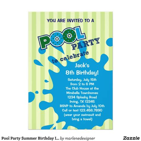 pool invitations free templates pool summer birthday invitation zazzle