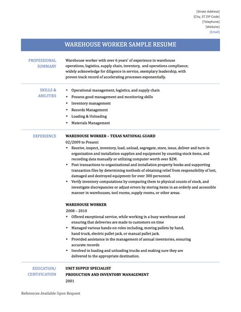 sle resume for warehouse associate 28 images warehouse
