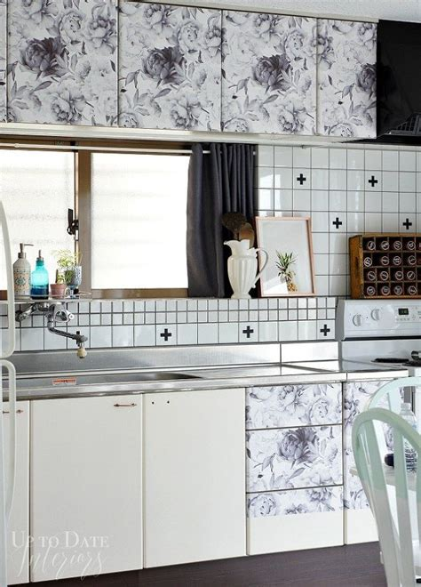 previous kitchen makeover with contact paper before and 20 ways you never thought of using wallpaper hometalk
