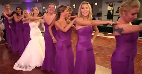 Bride And 8 Of Her Friends Line Up To Surprise Guests With