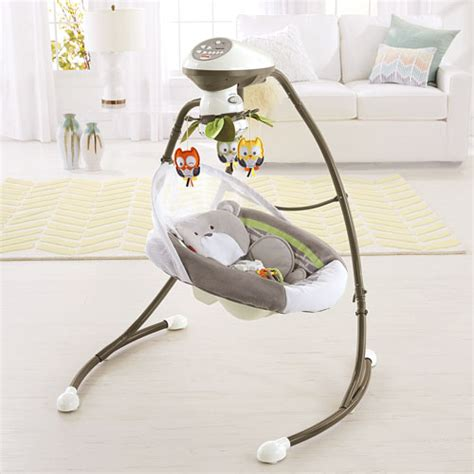 fisher price swing plug in my little snugabear cradle n swing