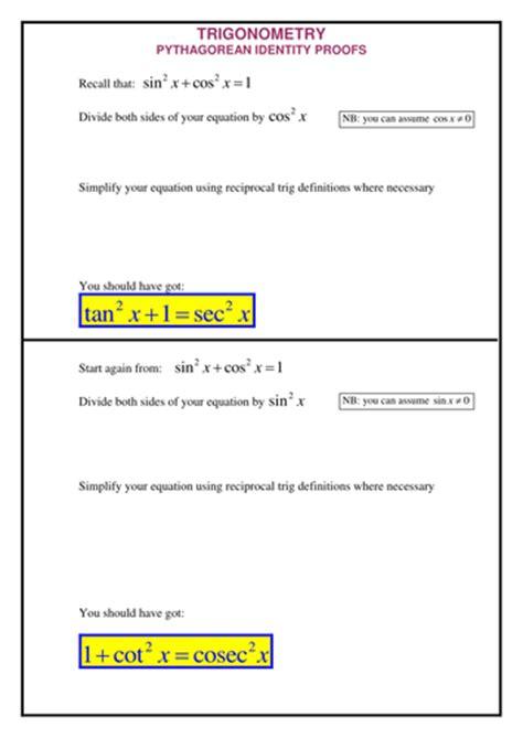 Trig Proofs Worksheet