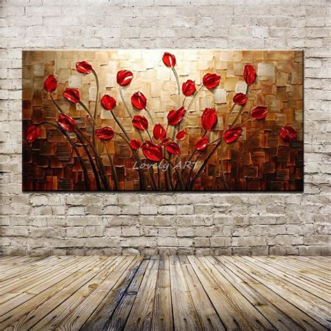 hand painted textured palette knife red flower oil