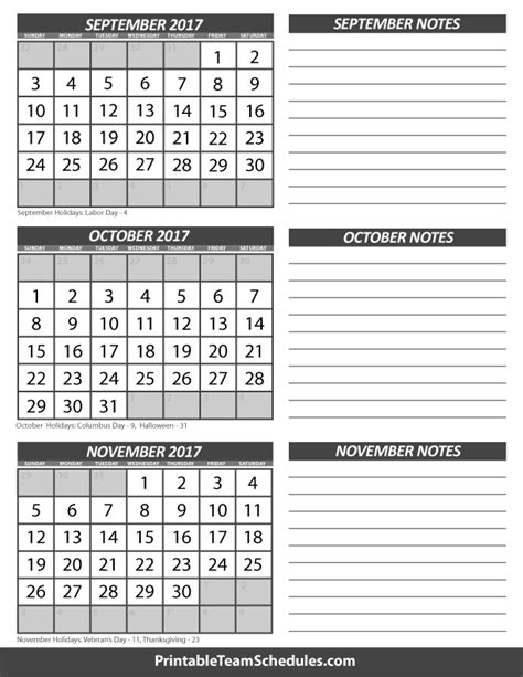 printable calendar october november december 2017 september october november calendar 2017