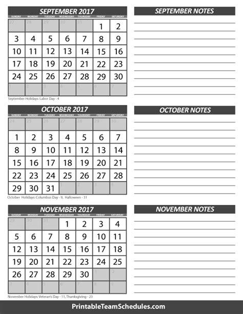 printable calendar september october november 2017 september october november calendar 2017