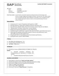 sap bi sle resume for 2 years experience sap bw sle resume