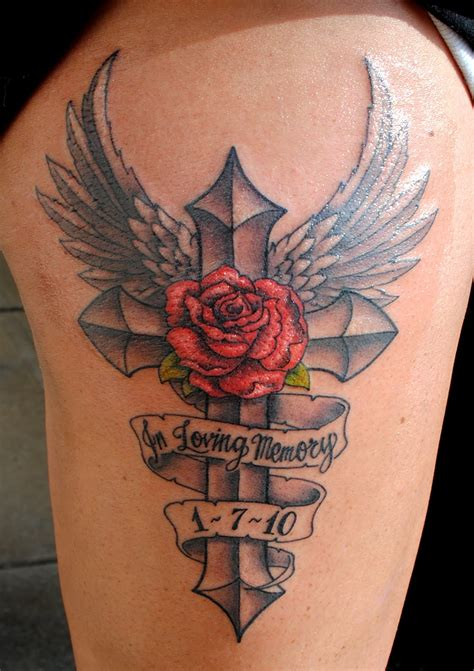 angel memorial cross and rose tattoo ideas tattoomagz