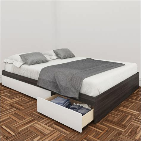white storage bed queen nexera allure 60 quot queen storage white lacquer ebony bed
