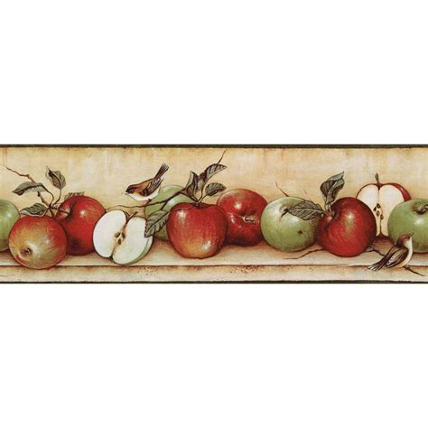 apple wallpaper kitchen the wallpaper company 6 83 in x 15 ft red and green