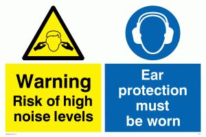 Wall Sticker Uk high noise ear protection worn from safety sign supplies