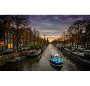 Wallpapers Amsterdam Canal Boat Netherlands City Evening