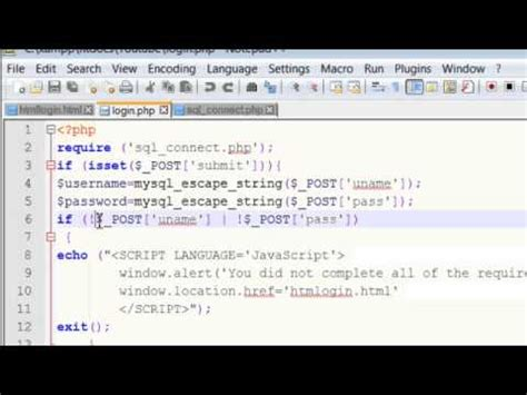 tutorial php mysql login php tutorials create login page with database phpmyadmin