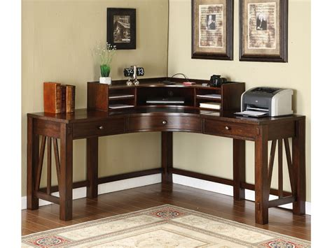 dark brown varnished teak wood corner desk which furnished
