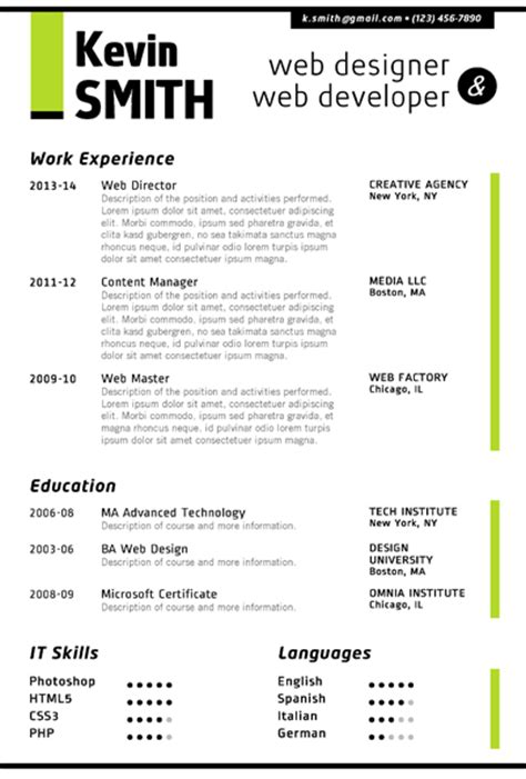 CVfolio Best 10 Resume Templates for Microsoft Word