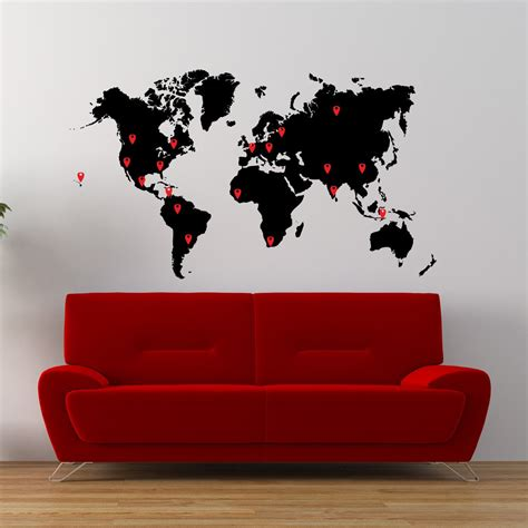 map wall decal world map vinyl wall decal world map with pins