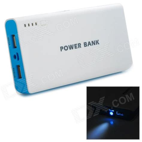 Power Bank Kekt 20000mah quot 20000mah quot li ion battery dual usb power bank for iphone white blue free shipping dealextreme