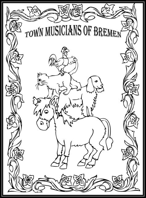 town musicians of bremen storybook coloring page by