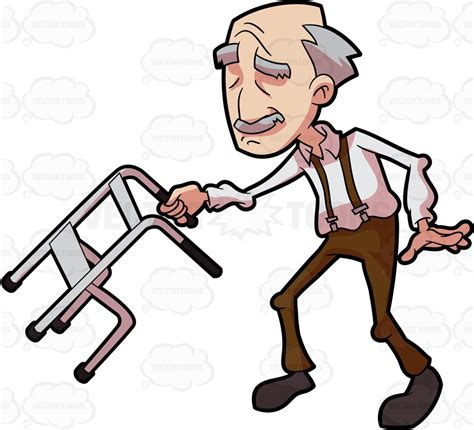 granpa cartoon film video a grandpa dancing and swinging with his walker cartoon