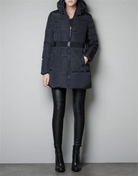 Zara Quilted Jacket With by Zara Quilted Jacket With Belt In Blue Navy Lyst