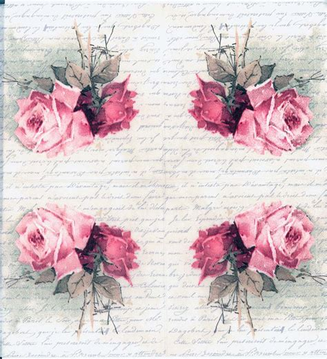 Decoupage Roses - decoupage napkins of vintage roses and poem