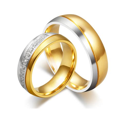 Wedding Rings by Cullen Two Tone With Swarovski Titanium Zoey