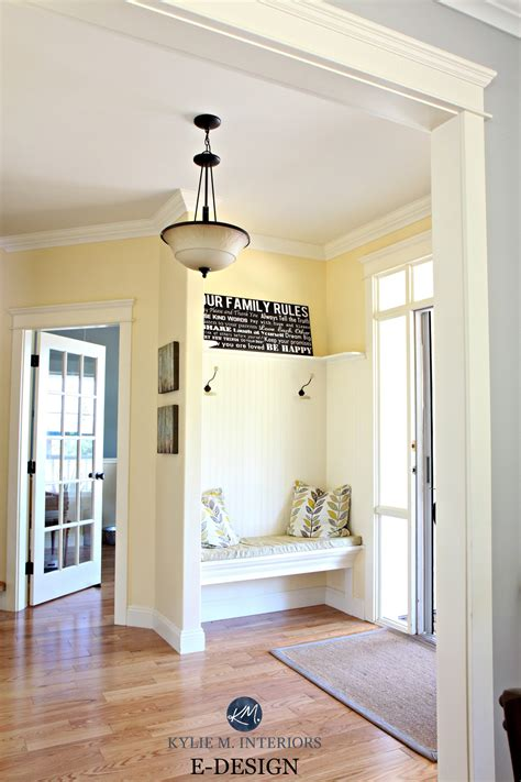 best yellow paint colour benjamin buttermilk oak flooring country style foyer entryway