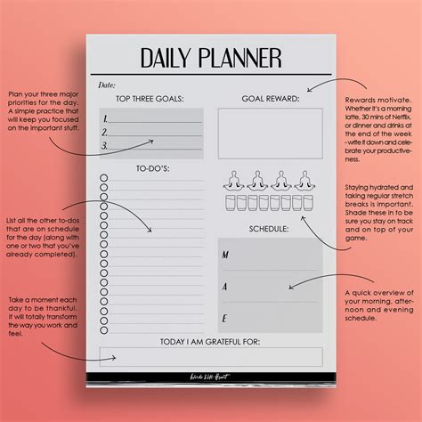 free printable daily action planner daily planner printable words with heart