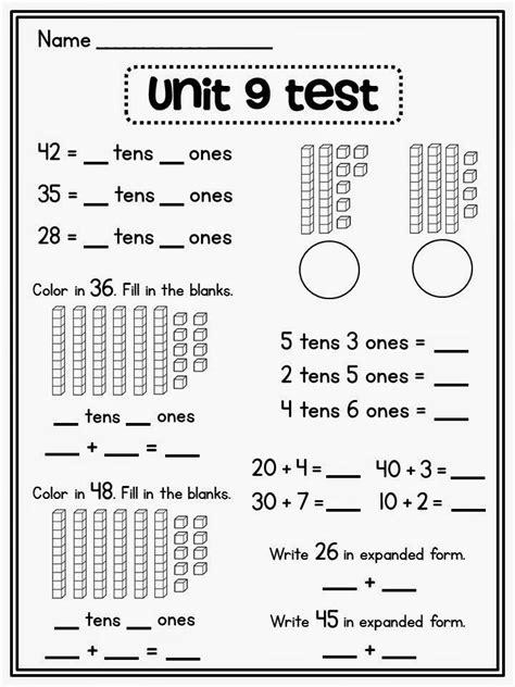 place value in first grade trabajos fichas de