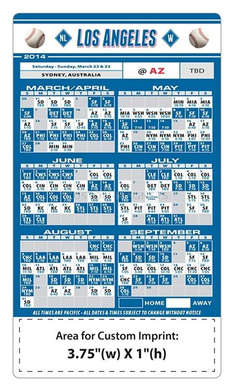 custom los angeles dodgers baseball team schedule magnets