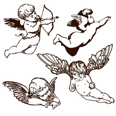 tattoo angel vector vintage angels statue vector 05 vector people free download