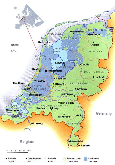 netherlands map below sea level map showing land below sea level
