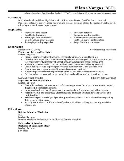 Best Doctor Resume Exle Livecareer Physician Cv Template
