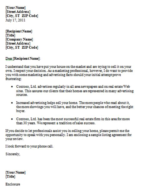 Sle Letter Format Sales Letter For Real Estate Sle Format