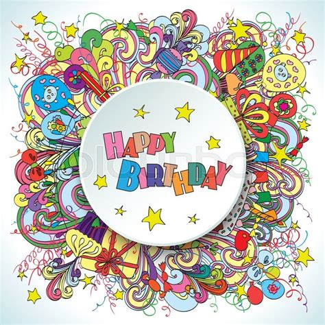 doodlebug happy cer happy birthday greeting card on white background with